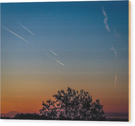 Squadron Of Jet Trails Over Ireland Wood Print