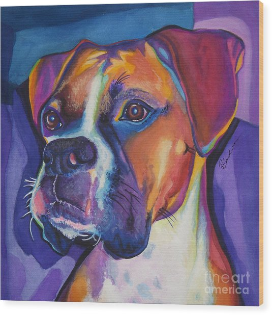 Square Boxer Portrait Wood Print
