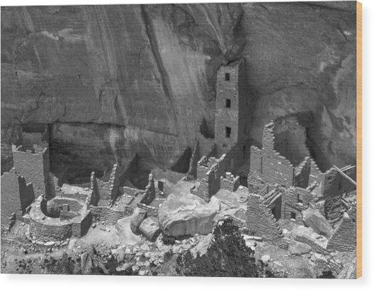 Square Tower At Mesa Verde Bw Wood Print