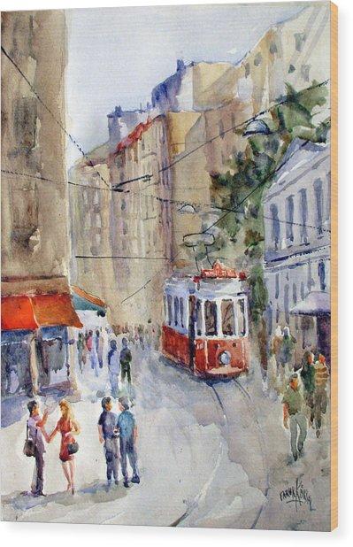 Square Tunel - Beyoglu Istanbul Wood Print