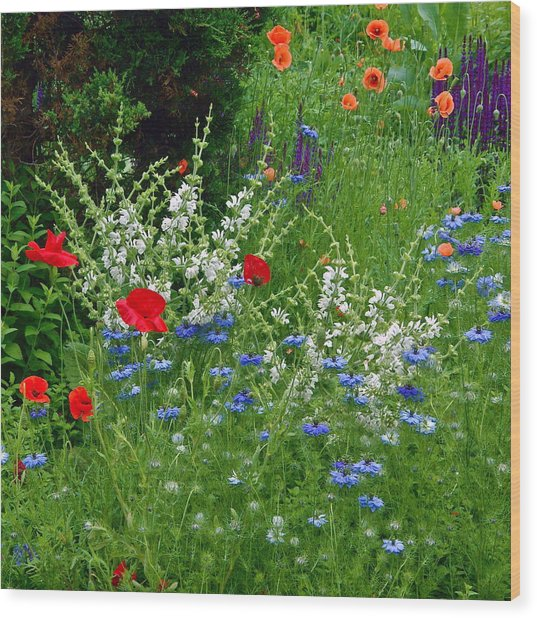 Squarely Spring Floral Garden Wood Print