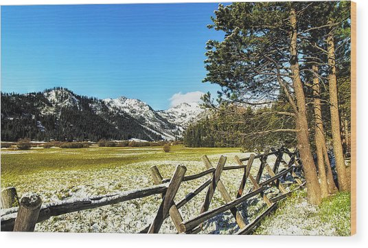 Squaw Valley Fence Wood Print