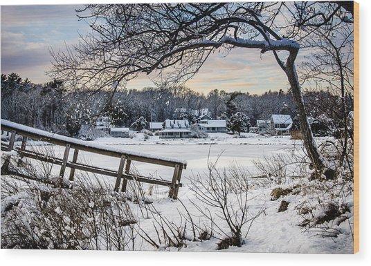 Squeteague Harbor Winter Wood Print