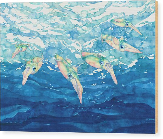 Squid Ballet Wood Print