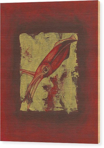 Squid Wood Print