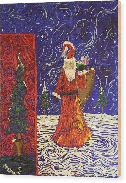 Squiggle Christmas Wood Print