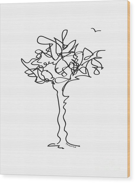 Squiggle Tree 1 Wood Print