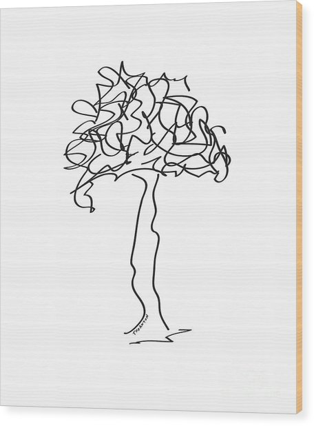 Squiggle Tree 2 Wood Print