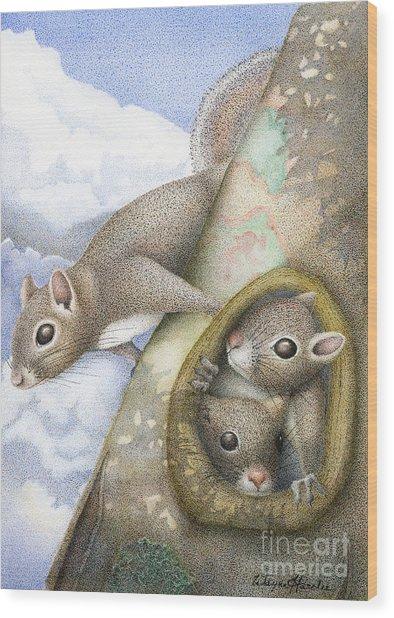 Squirrels Wood Print by Wayne Hardee