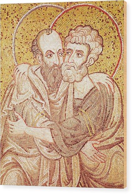 Saints Peter And Paul Embracing Wood Print