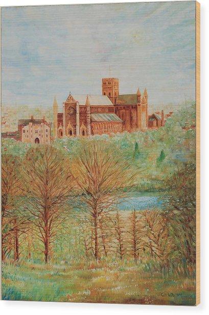 St Albans Abbey - Autumn View Wood Print