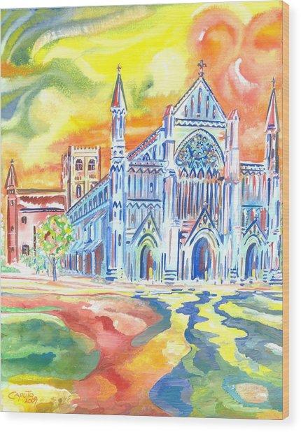 St Albans Abbey - Rainbow Celebration Wood Print
