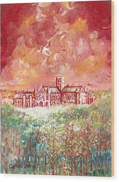 St Albans Abbey - Stormy Weather Wood Print