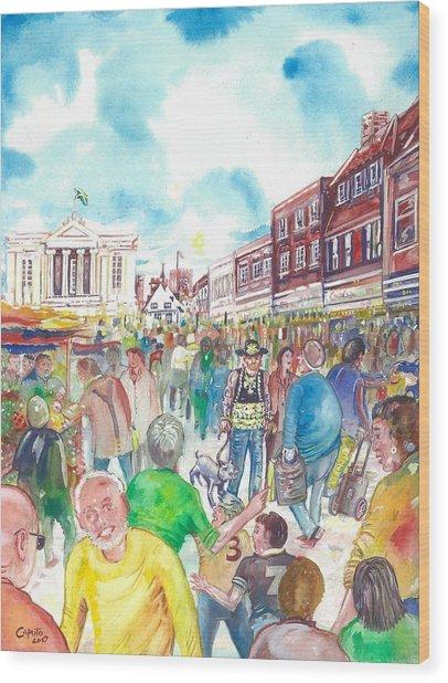 St Albans - Market People Wood Print