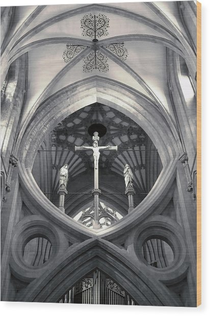 St Andrews Cross Scissor Arches Of Wells Cathedral  Wood Print