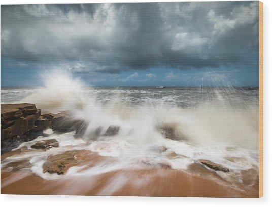 St. Augustine Fl Beach Seascape Crashing Waves Wood Print