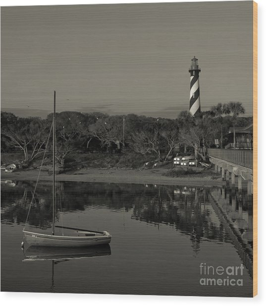 St. Augustine Lighthouse Beach Early Morning Monochrome Wood Print