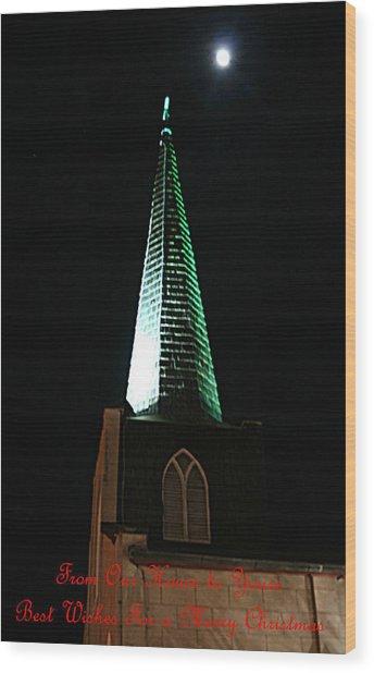St. Augustine Moon Christmas Card Wood Print