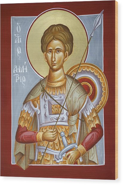 St Dimitrios The Myrrhstreamer Wood Print by Julia Bridget Hayes