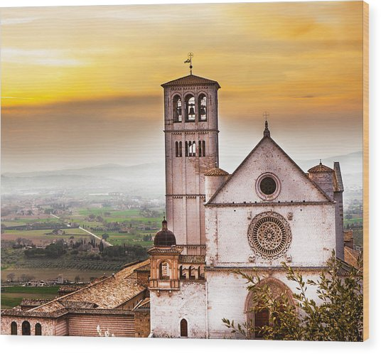 St Francis Of Assisi Church At Sunrise  Wood Print by Susan Schmitz