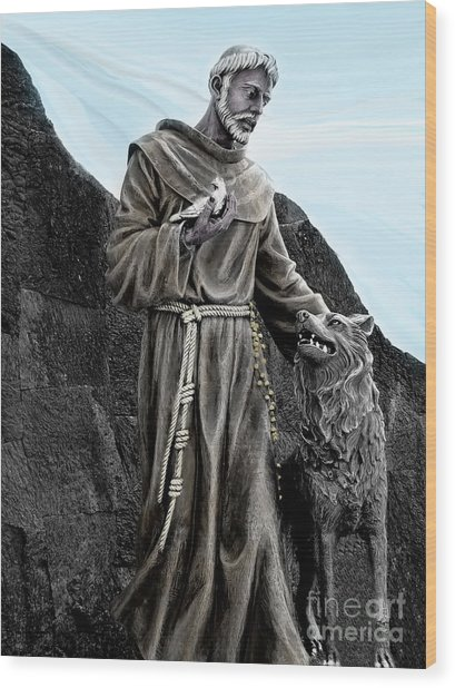 St Francis Of Assisi On Isabela In The Galapagos Wood Print