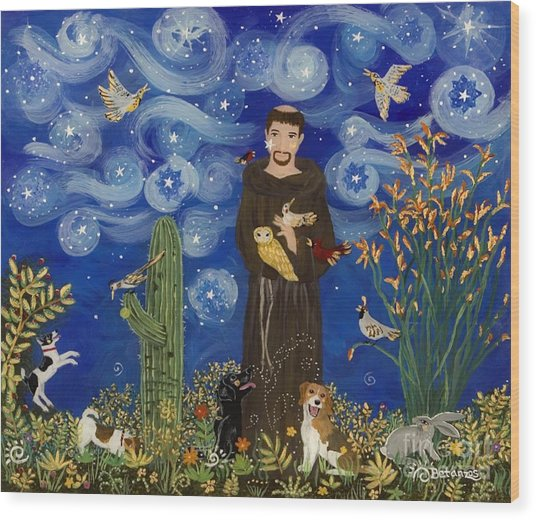 St. Francis Starry Night Wood Print