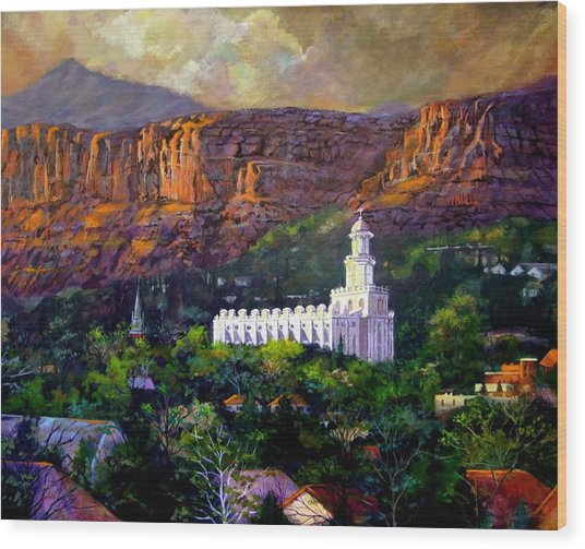 St. George Temple Red Hills Wood Print