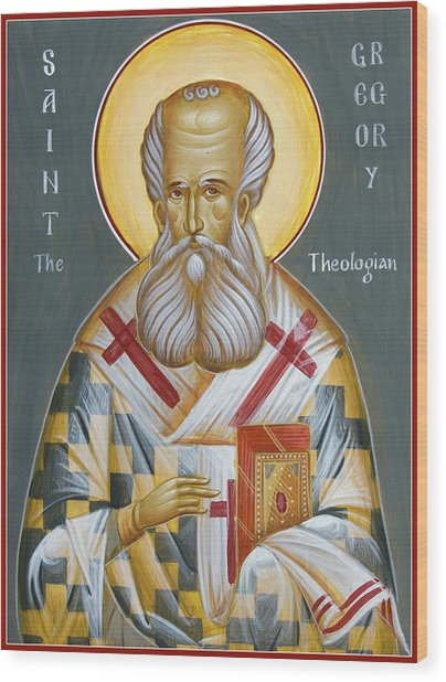 St Gregory The Theologian Wood Print by Julia Bridget Hayes