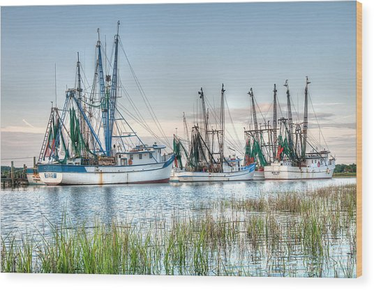 St. Helena Island Shrimp Boats Wood Print