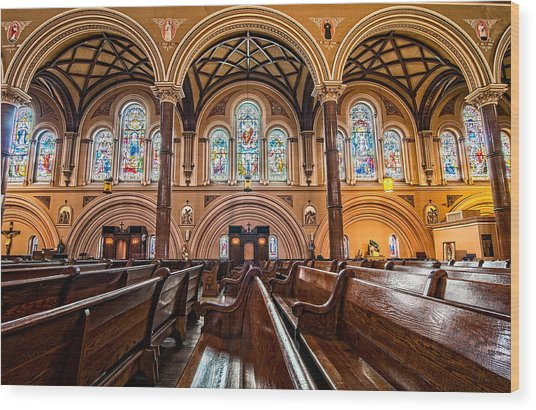 St. Joseph Church Stained Glass Wood Print