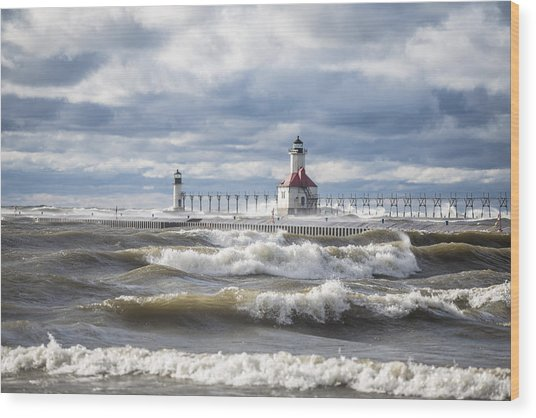 St Joseph Lighthouse On Windy Day Wood Print