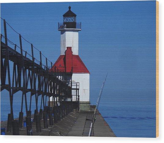 St Joseph North Point Lighthouse Wood Print by Rose Clark