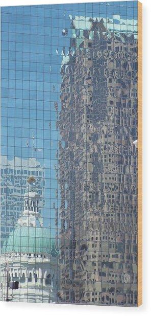 St. Louis Bldg Reflections Wood Print