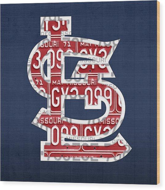 St. Louis Cardinals Baseball Vintage Logo License Plate Art Wood Print
