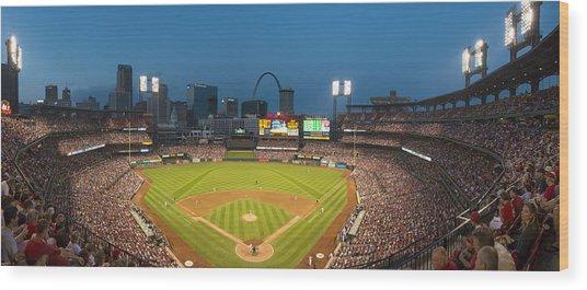 St. Louis Cardinals Busch Stadium Pano 5 Wood Print