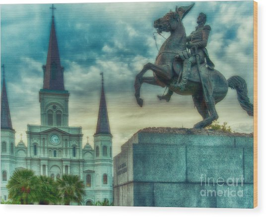 St. Louis Cathedral And Andrew Jackson- Artistic Wood Print