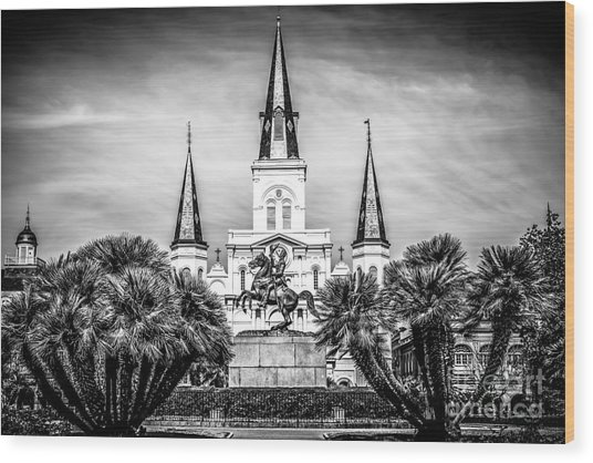 St. Louis Cathedral In New Orleans Black And White Picture Wood Print