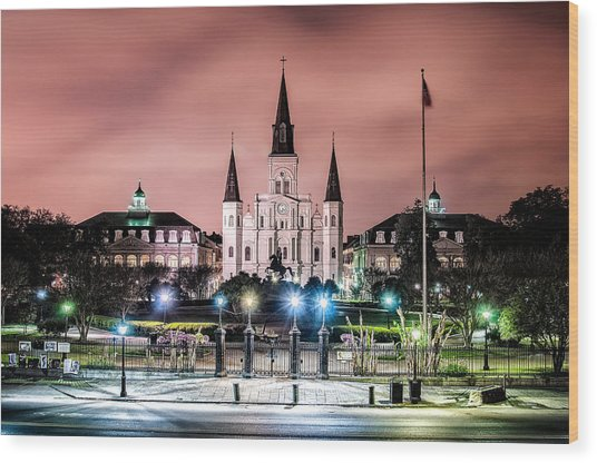 St. Louis Cathedral In The Morning Wood Print