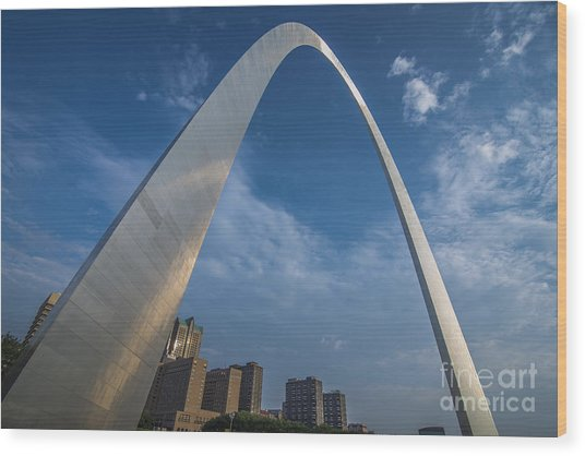 St. Louis Gateway Arch Sunrise Wood Print