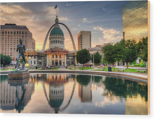 St. Louis Skyline Morning Reflections Wood Print