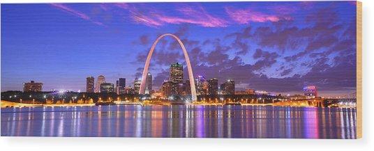 St. Louis Skyline At Dusk Gateway Arch Color Panorama Missouri Wood Print