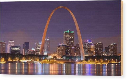 St. Louis Skyline At Night Gateway Arch Color Panorama Missouri Wood Print