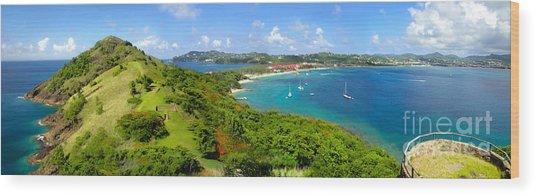 St Lucia - Rodney Bay Panorama - 01 Wood Print