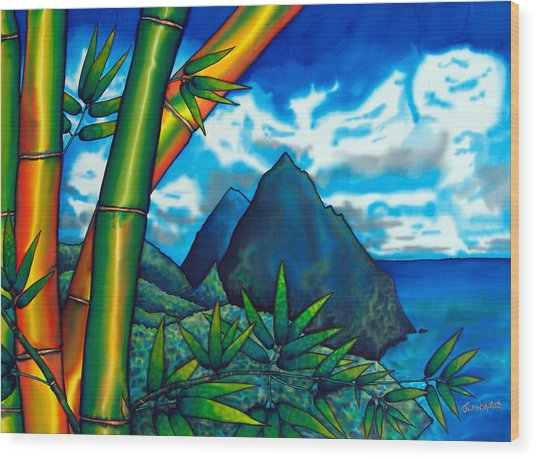 St. Lucia Pitons Wood Print