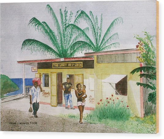 St. Lucia Store Wood Print