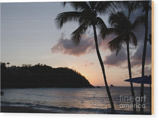 St. Lucian Sunset Wood Print