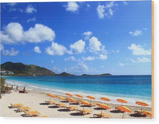 St. Maarten Calm Sea Wood Print