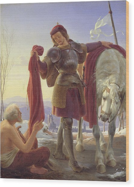 St. Martin And The Beggar, 1836 Oil On Canvas Wood Print