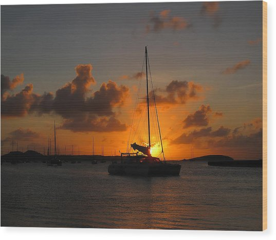 St. Martin Sunset Wood Print by Randolph Fritz