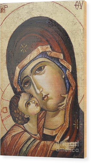 St. Mary And Jessus Wood Print